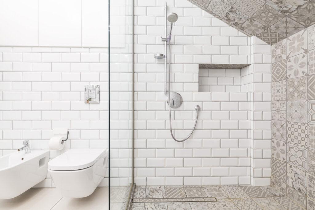 Tiles on the wall in luxury beige bathroom